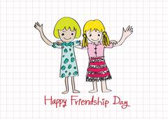 happy friendship day and best friends forever idea design - stock illustration