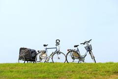 bikes on the dike - stock photo