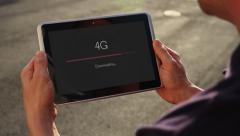 Downloading Over 4G to a Tablet PC 4163 - stock footage