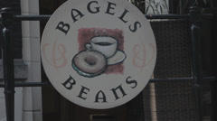 Cafe signboard - Bagels and Beans Stock Footage