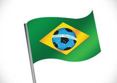 brazil map and soccer ball 2014 - stock illustration