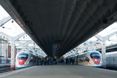 High speed train Sapsan departs from the railway station - stock photo
