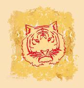 Abstracted grunge tiger illustration Stock Illustration