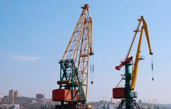 two cranes - stock photo