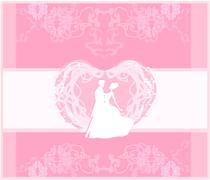 Stock Illustration of ballroom silhouette wedding dancers - invitation