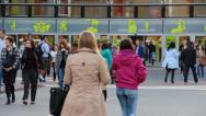 People in front of a large shopping mall - Lodz, Poland Stock Footage