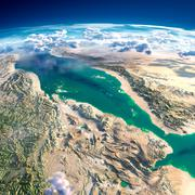 fragments of the planet earth. red sea - stock illustration