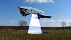 Alien spaceship scans the earth for resource  Stock Footage
