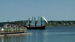 Halifax Nova Scotia New Scotland Canada 025 old sailing ship passes the pier Stock Footage