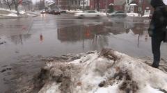 Snow slush and puddles Stock Footage