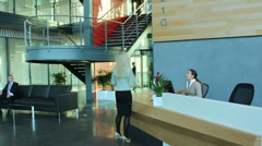 Time lapse of diverse business group in a large modern corporate building - stock footage
