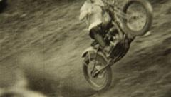 Vintage 1930s Dirt Bike Hill Climb Stock Footage