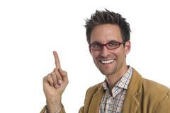 Businessman pointing to the left - stock photo