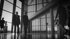 Diverse business group walking through modern office building at sunset Stock Footage