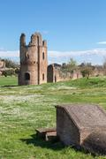 Ruins of the Circus of Maxentius in Rome Stock Photos