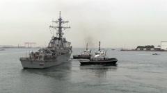 USS Fitzgerald Departs Yokosuka, Japan Stock Footage