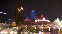 Time Lapse  Stunning Dramatic Macau Lisboa casino Wynn Water Fountain Show China Stock Footage