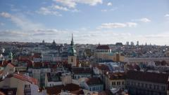 View of Prague City Center from Old Town Tower Stock Footage