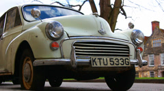 1968 Morris Minor car in England Stock Footage