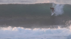 Surfer getting Barreled at Pipe Line Stock Footage