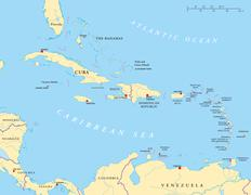 Caribbean - Large And Lesser Antilles - Political Map - stock illustration