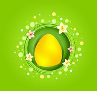 yellow easter egg with spring element card - stock illustration