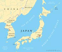 Japan, North Korea And South Korea Political Map - stock illustration