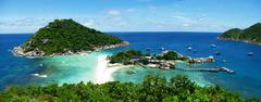 Stock Photo of view point from top of mountain for see nature of nangyuan island