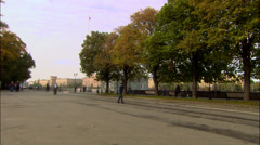 Panorama of the river quay crane moscow 01 Stock Footage