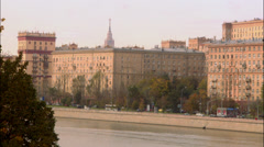 Panorama of the river quay crane moscow 03 Stock Footage