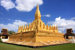 pha that luang stupa, vientiane, laos - stock photo