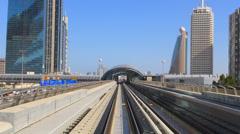 Stunning Time Lapse POV Dubai elevated Rail Metro system Sheikh Zayed Rd UAE - stock footage