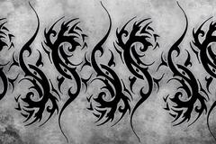 tribal tattoo design over grey background. textured backdrop. artistic image - stock illustration