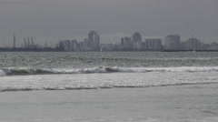 Distant City Port And Skyline And Ocean Stock Footage