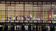 Silhouettes of people in shopping mall. Large shopping center in Poland Stock Footage