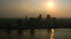 New Orleans Aerial Downtown Backlight Stock Footage