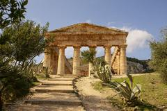 greek temple in the ancient city of segesta, sicily - stock photo
