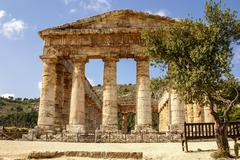 segesta archaeological site of ancient greece drills sicily italy - stock photo