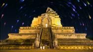 Stock Video Footage of Wat Chedi Luang Famous Temple and Starry Of Chiang Mai, Thailand (effects)