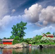 oslo, norway. colourful homes over oslofjord on a beautiful summer day - stock photo