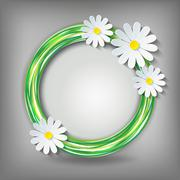 Eco background with 3d chamomile Stock Illustration