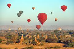 Multicolored  Balloons Temples Bagan - stock photo