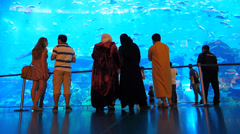 Dubai Mall Oceanarium and underwater zoo UAE Stock Footage