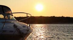 Sunset Sea Motorboat 2 Stock Footage