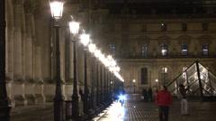 Paris - France - Night - Louvre museum entrance - HD Stock Footage