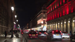 Paris - France - Night - Rue de Rivoli - HD Stock Footage