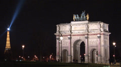 Paris - France - Night - Arc de Triomphe du Carrousel - HD Stock Footage