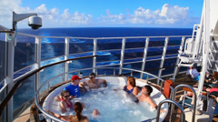 Torists in the jacuzziof the cruise ship - stock footage