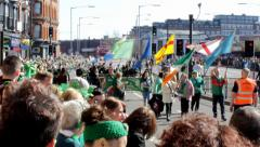 The start of Birmingham's St Patrick's Day Parade 2014 Stock Footage