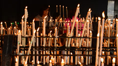Candlestick with candles and people Stock Footage